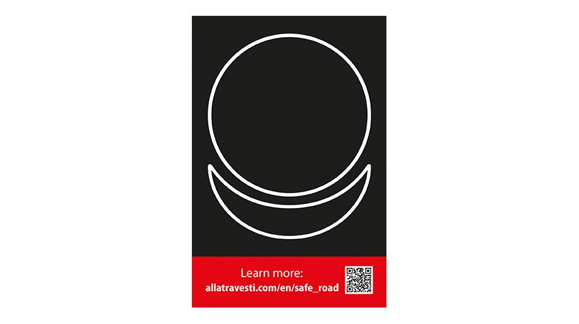 Sticker AllatRa sign white on a black background 10 by 15 cm