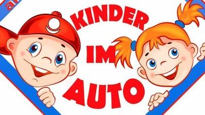 Автонаклейка с Аллатрушкой на немецком «Дети в машине»