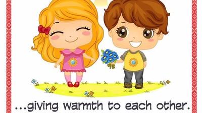 Добрый мотиватор с Аллатрушкой на английском «Доброта – это дарить тепло друг другу»
