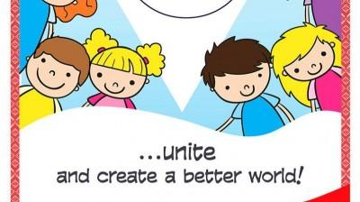 Добрый мотиватор с Аллатрушкой на английском «Доброта – это объединяться и творить лучший мир!»
