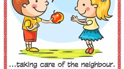 Добрый мотиватор с Аллатрушкой на английском «Доброта – это заботиться о ближнем»
