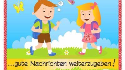 Добрый мотиватор с Аллатрушкой на немецком «Доброта – это делиться хорошими новостями!»