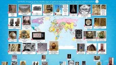 Карта инфографика. Изображение у разных народов знака духовного преображения АллатРа. На английском