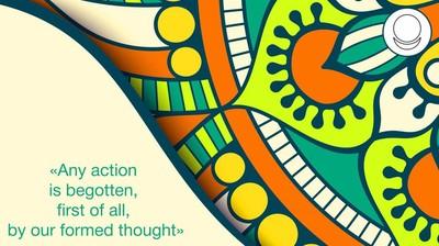Мотиватор. Любое действие порождает, прежде всего, наша же сформированная мысль. На английском.