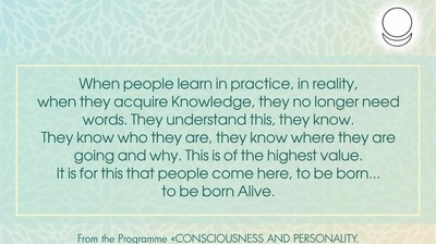 When people learn in practice, in reality,  when they acquire Knowledge, they no longer need words